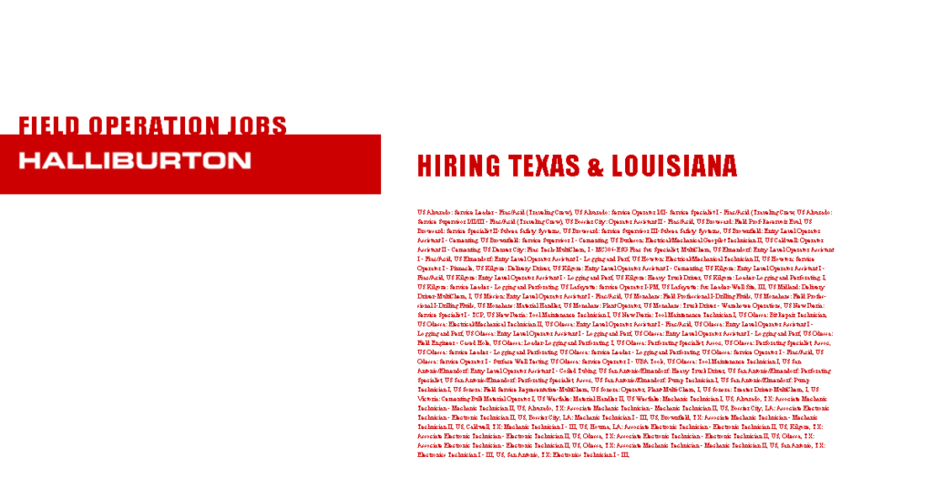 service operator plant operator truck driver pump technician cementing operator mechanic 76 field operation jobs in texas and louisiana