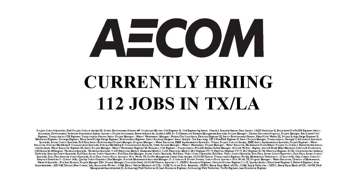 aecoms hiring industrial job shop