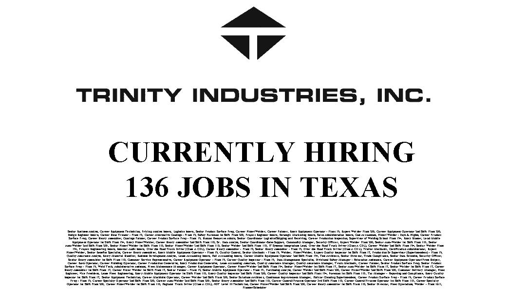 Trinity Industries – 136 Trade Jobs Available in Texas