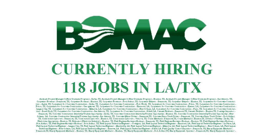 Bomac Contractors Hiring 48jobs Tx Amp La Industrial Job Shop