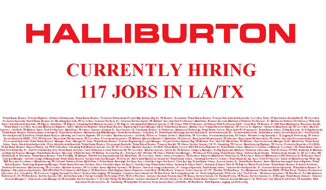 Halliburton is Hiring 117 Jobs in LA/TX