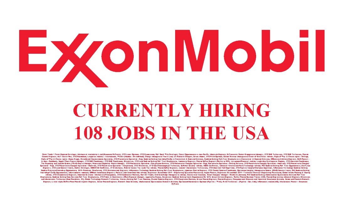 Exxon Mobil Hiring 108 Jobs