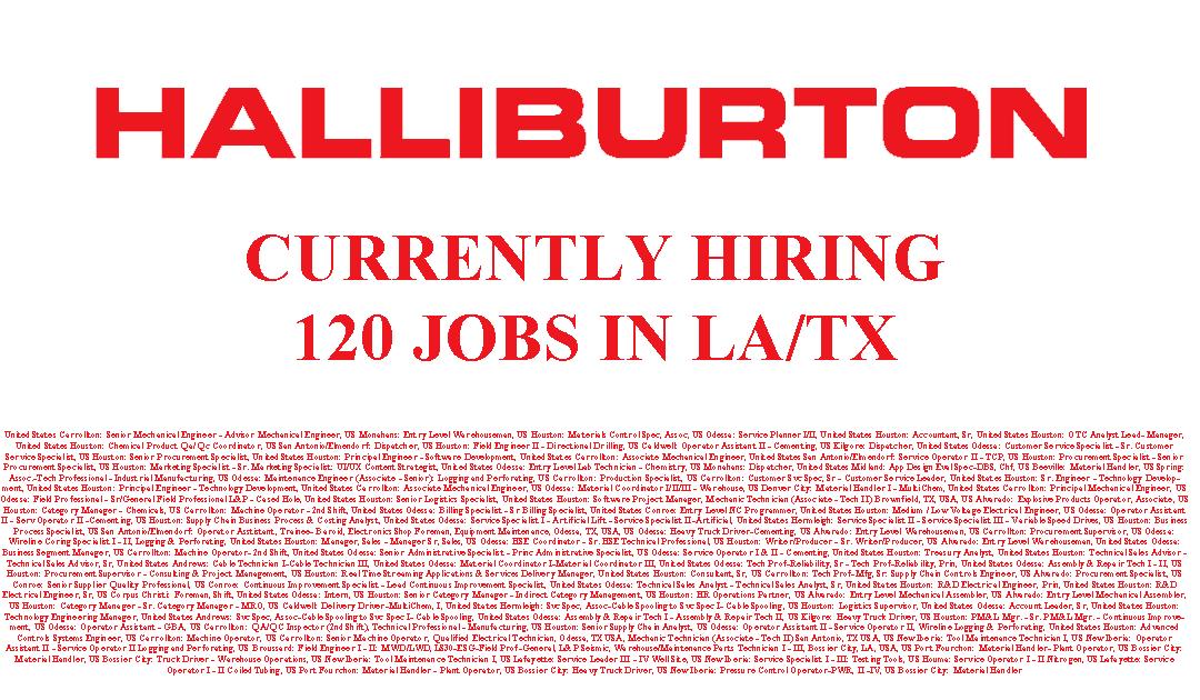 Halliburton is Hiring 120 Jobs in LA/TX