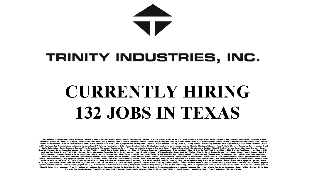 Trinity Industries 132 Trade Jobs Available in Texas