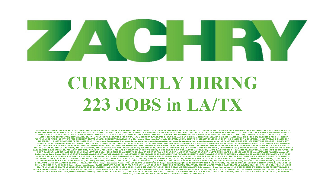 Zachry Group is Currently Hiring 223 Jobs in Louisiana and Texas