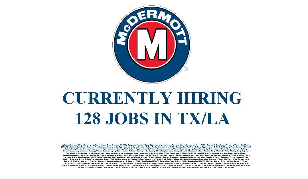 McDermott Hiring in LA/TX – 128 Jobs