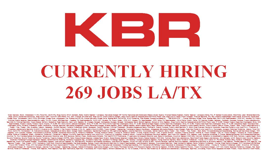 KBR Currently Hiring 269 JOBS LA&TX