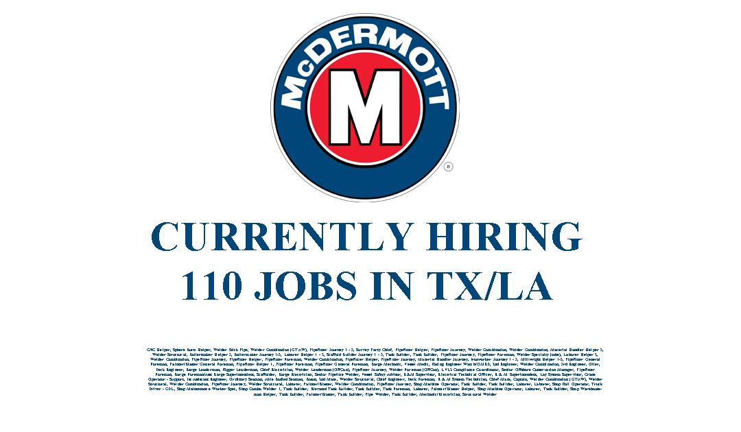 McDermott Hiring in LA/TX – 110 Jobs