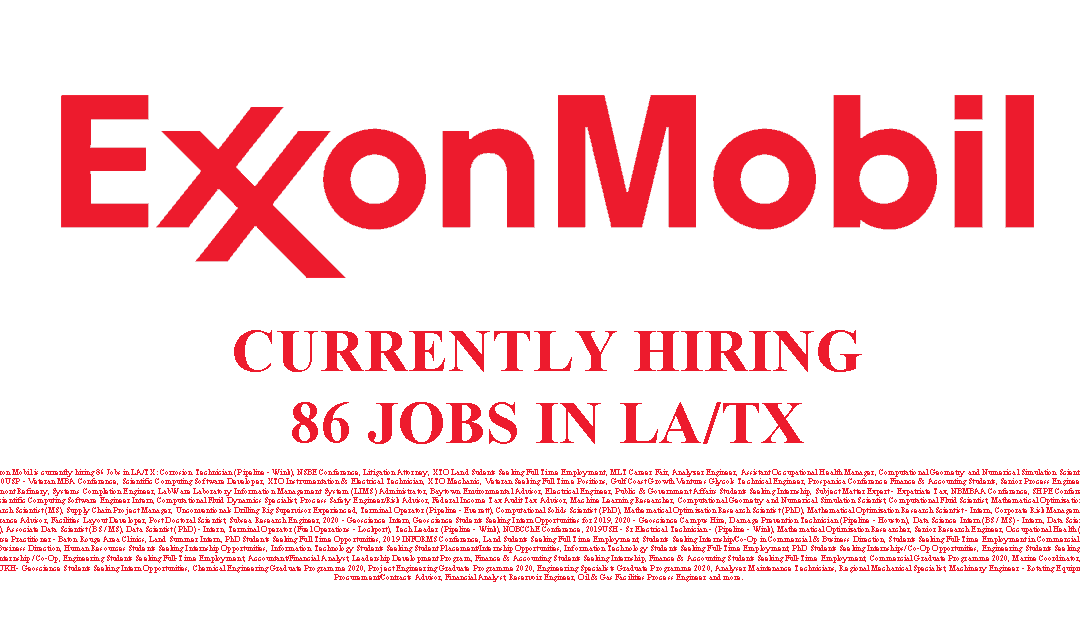 Exxon Mobil Hiring in the USA 86 Jobs Available