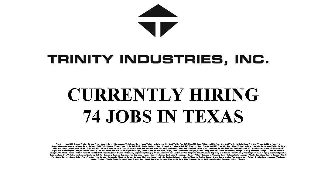 Trinity Industries 74 Trade Jobs Available in the USA
