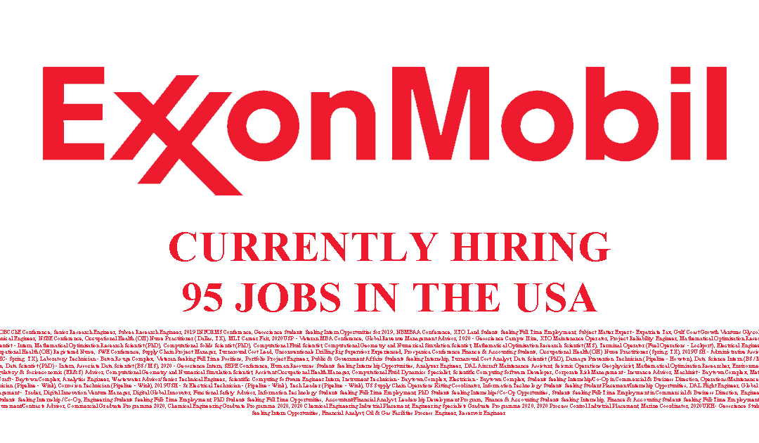 Exxon Mobil Hiring in the USA 95 Jobs Available
