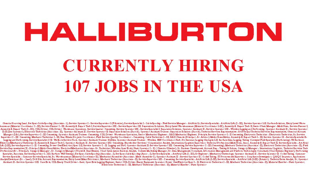 Halliburton is Hiring 107 Jobs in the USA