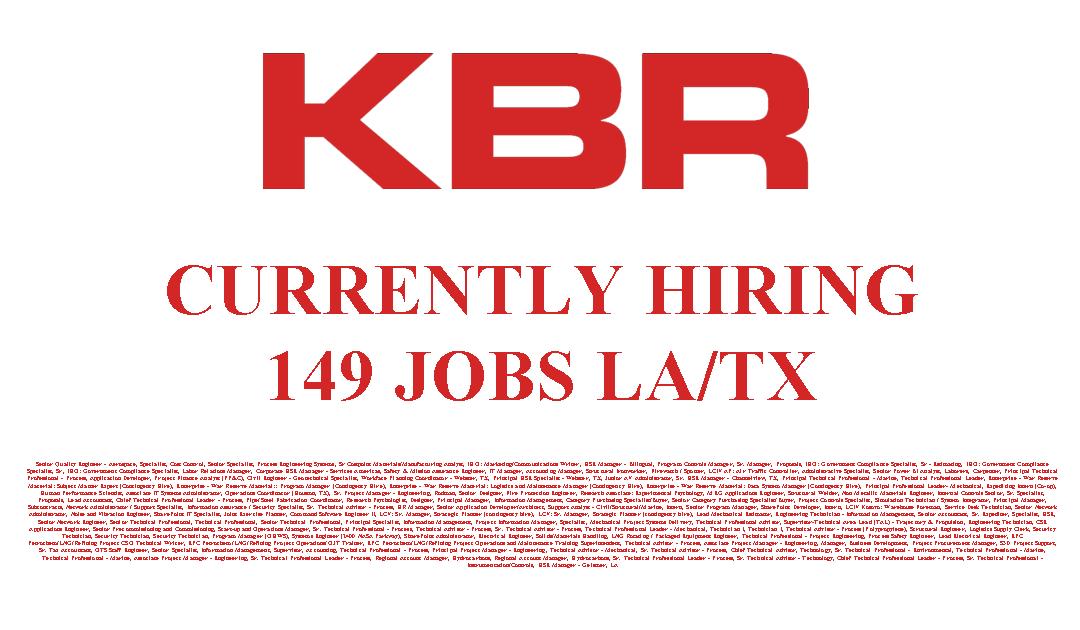 KBR Currently Hiring 149 Jobs in TX/LA