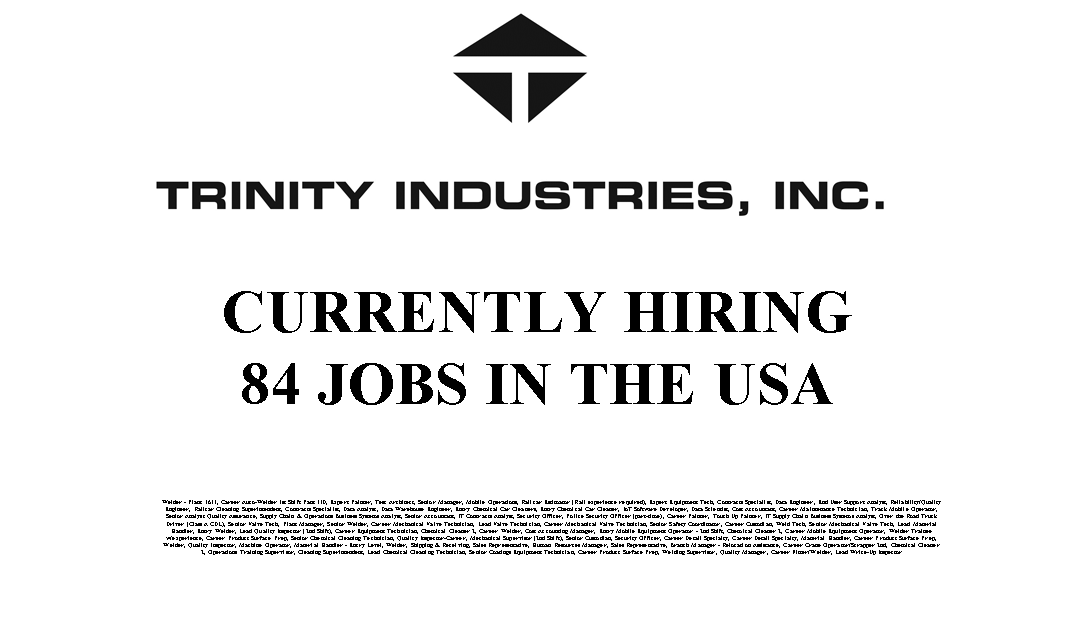 Trinity Industries 84 Trade Jobs Available in the USA