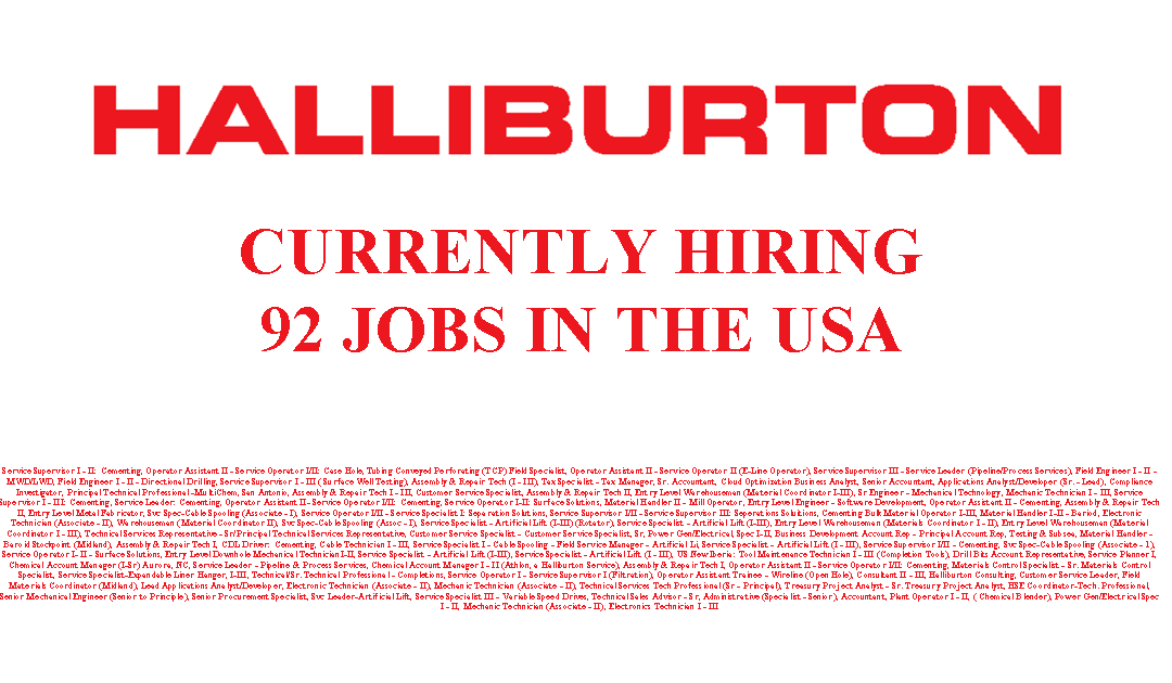 Halliburton is Hiring 92 Jobs in the USA