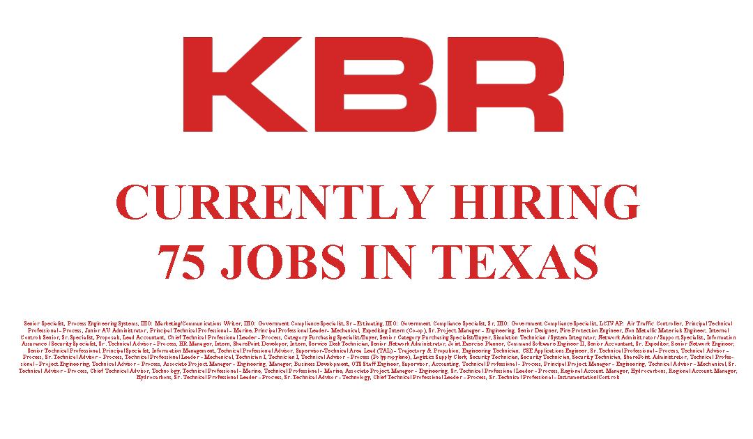 KBR Currently Hiring 75 Jobs in Texas