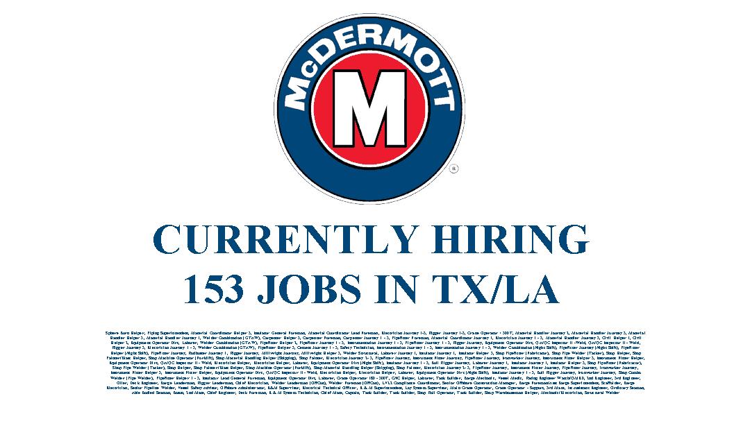 McDermott Hiring in LA/TX – 153 Jobs