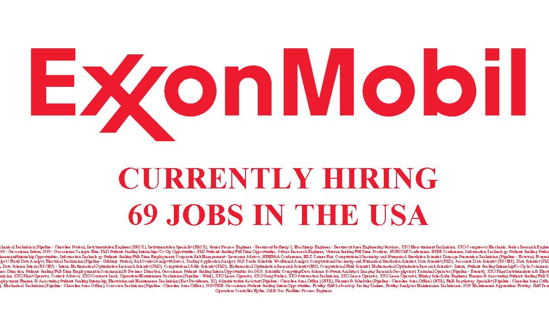 Exxon Mobil Hiring 69 Jobs in the USA