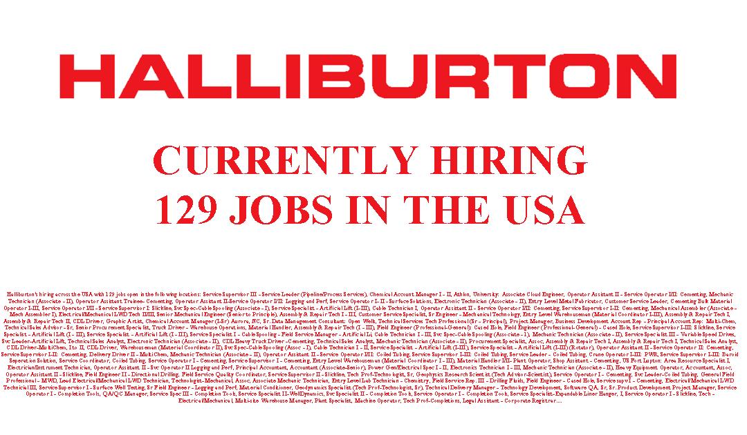 Halliburton is Hiring 129 Jobs in the USA