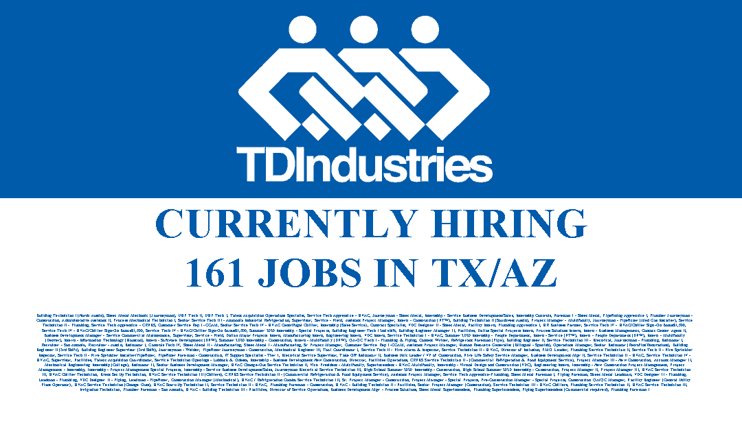 TDIndustries is hiring 161 Jobs in the USA