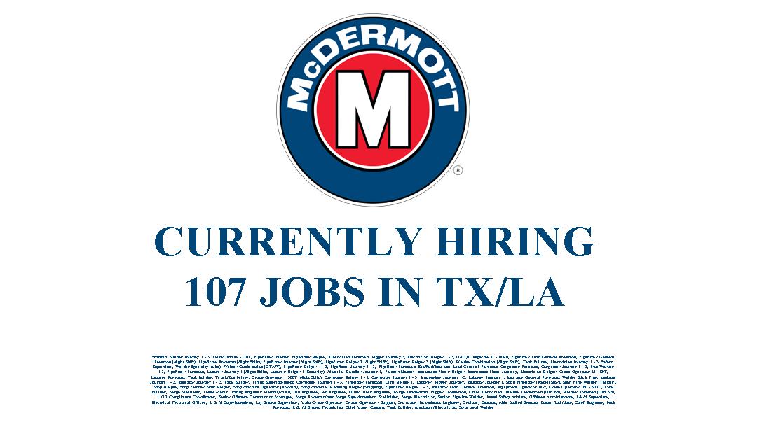 McDermott Hiring in LA/TX – 107 Jobs