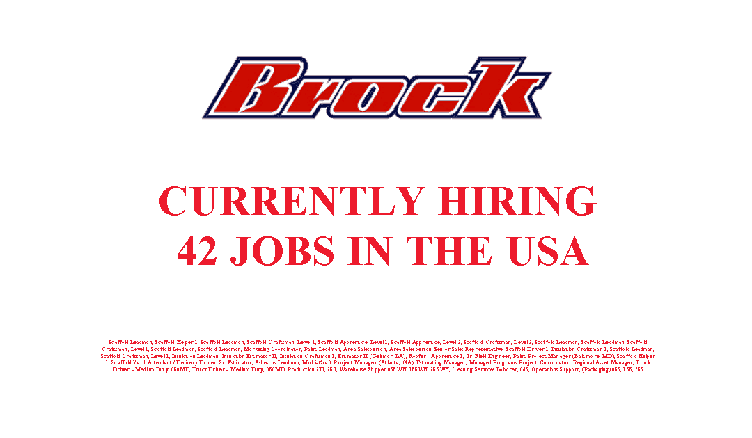 Brock Group is Currently Hiring 42 Jobs in the USA