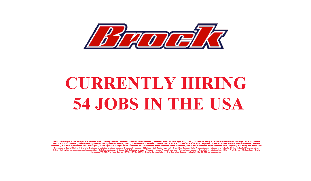 Brock Group is Currently Hiring 54 Jobs in the USA