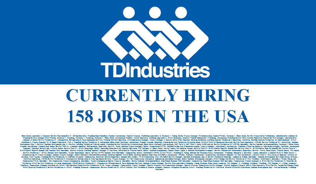TDIndustries is hiring 158 Jobs in the USA