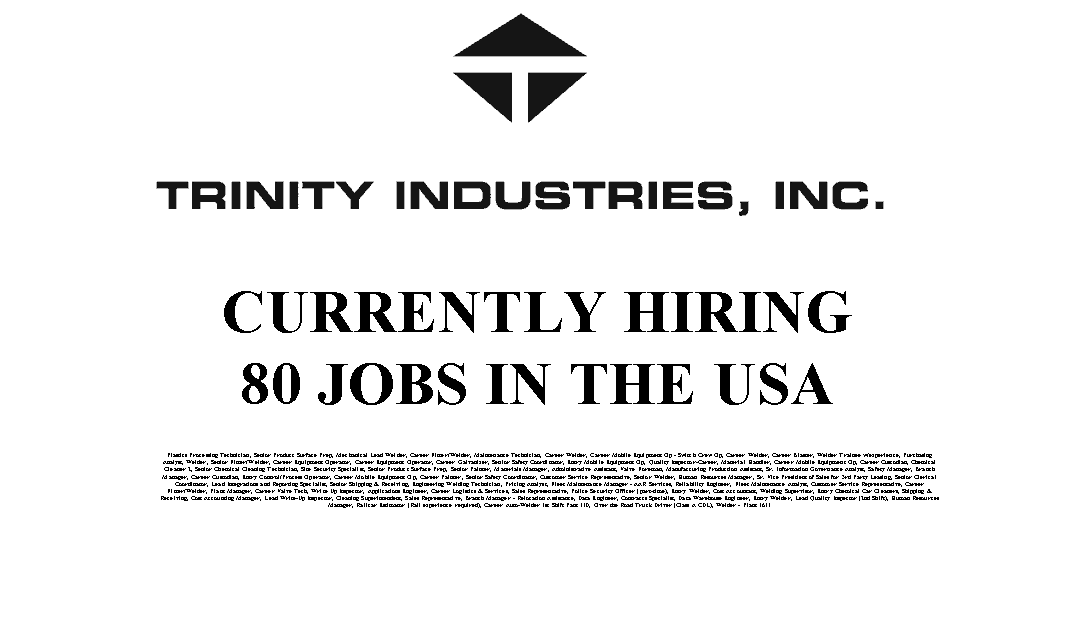 Trinity Industries 80 Trade Jobs Available in the USA