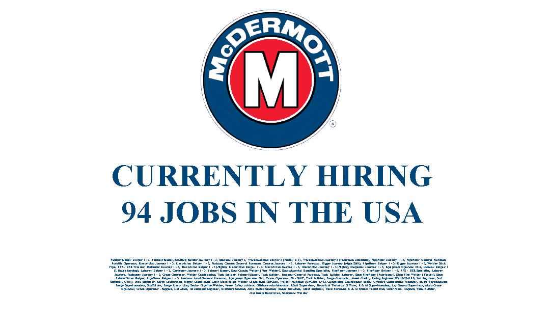 McDermott Hiring 94 Jobs in the USA