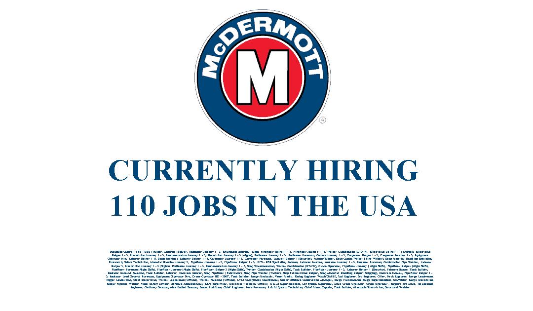 McDermott Hiring in the USA – 110 Jobs