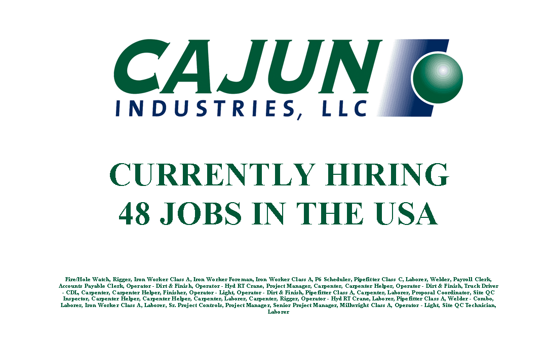 Cajun Industries is Currently Hiring 48 Jobs in the USA