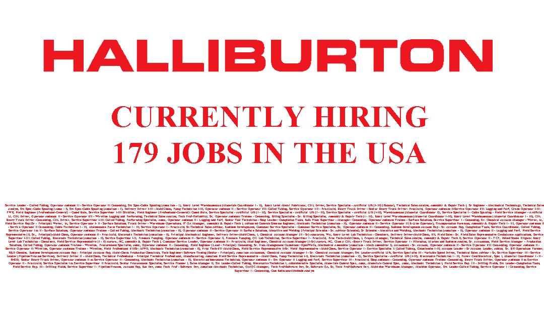 Halliburton is Hiring 179 Jobs in the USA