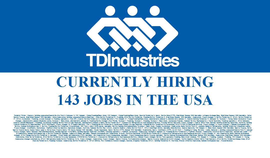 TDIndustries is hiring 143 Jobs in the USA