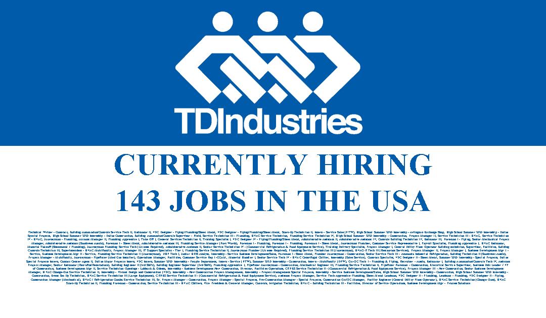 TDIndustries is hiring 143 Jobs in the USA