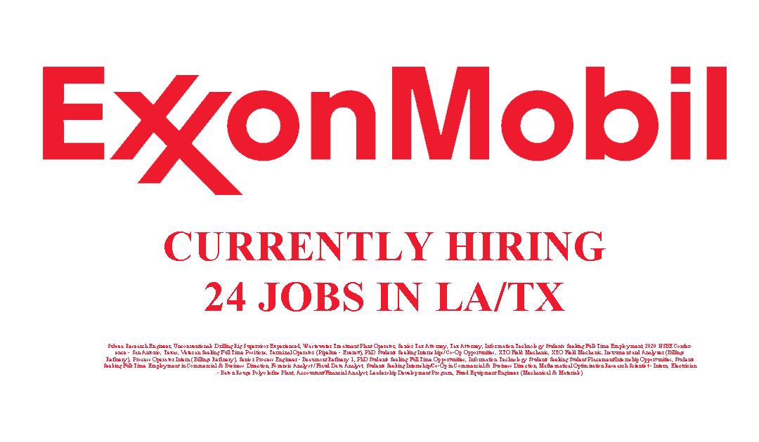 Exxon Mobil Hiring 24 Jobs in the USA