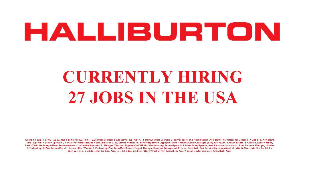 Halliburton is Hiring 27 Jobs in the USA