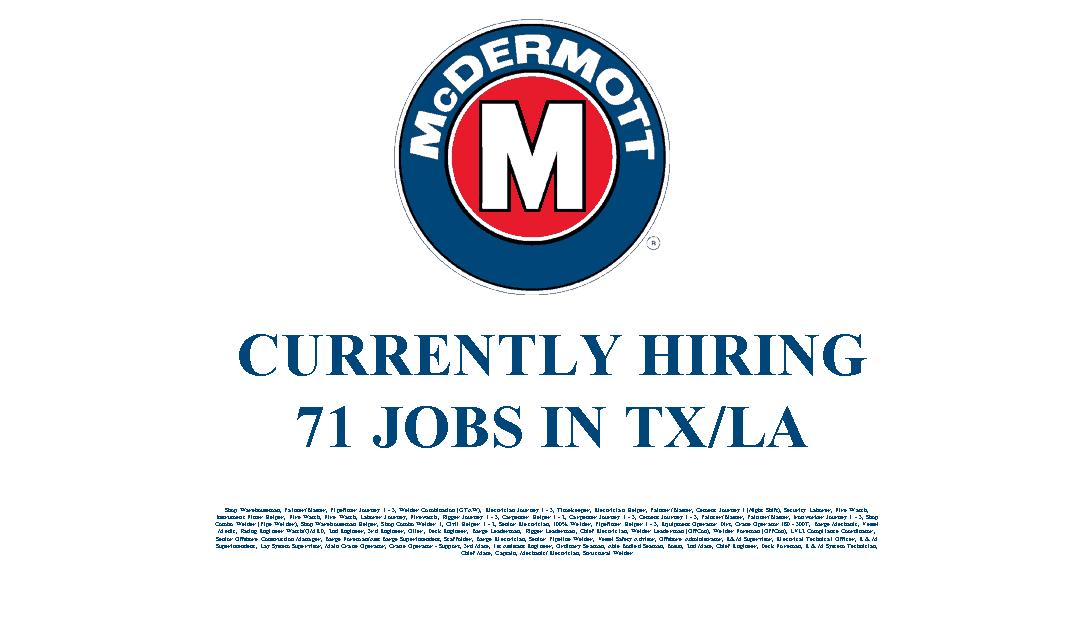 McDermott Hiring 71 Jobs in the Texas and Louisiana