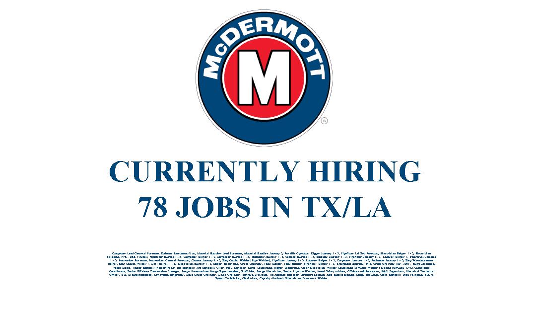 McDermott Hiring 78 Jobs in the Texas and Louisiana