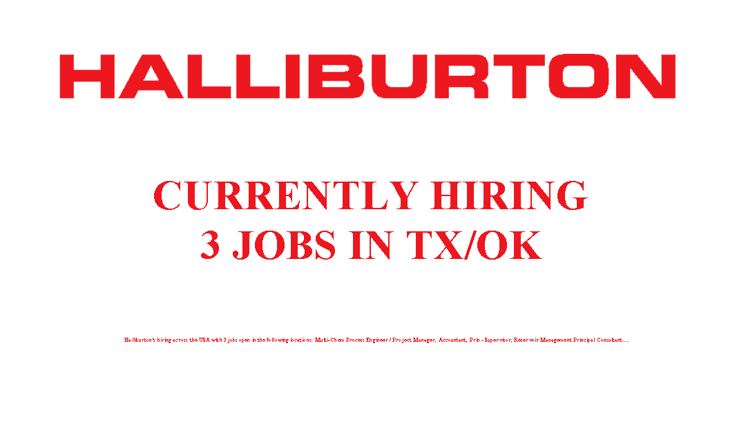 Halliburton is Hiring 3 Jobs in the USA