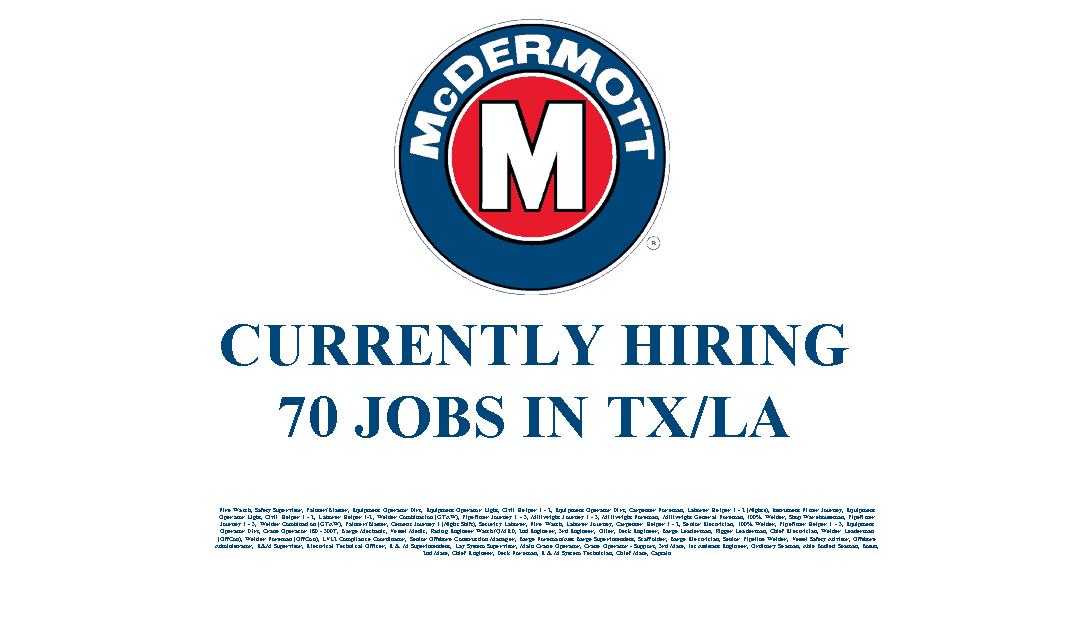 McDermott Hiring 70 Jobs in the Texas and Louisiana