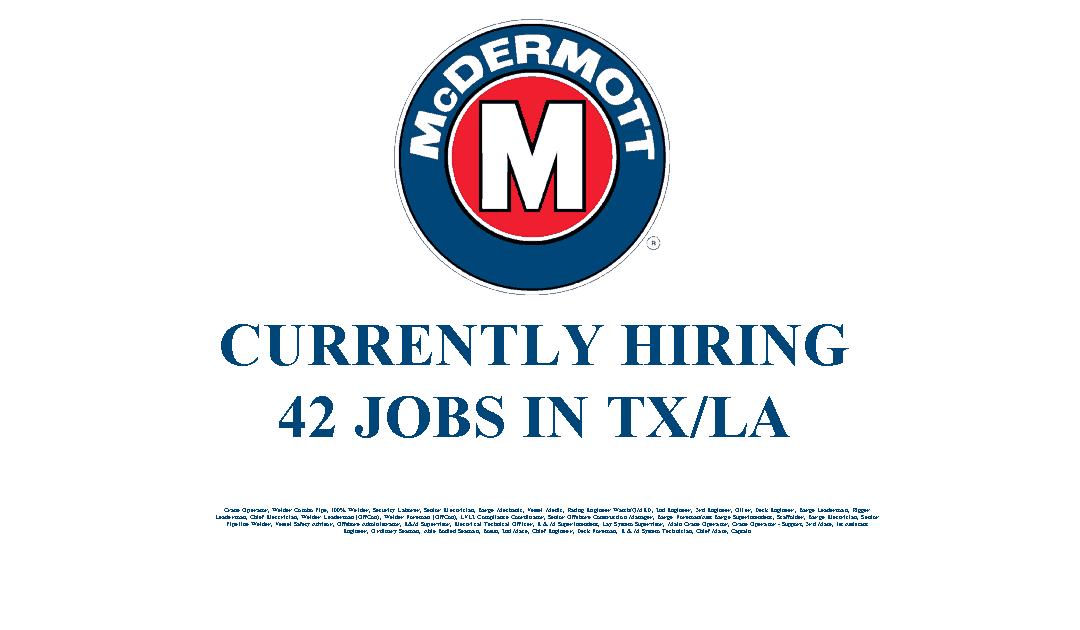 McDermott Hiring 42 Jobs in the Texas and Louisiana