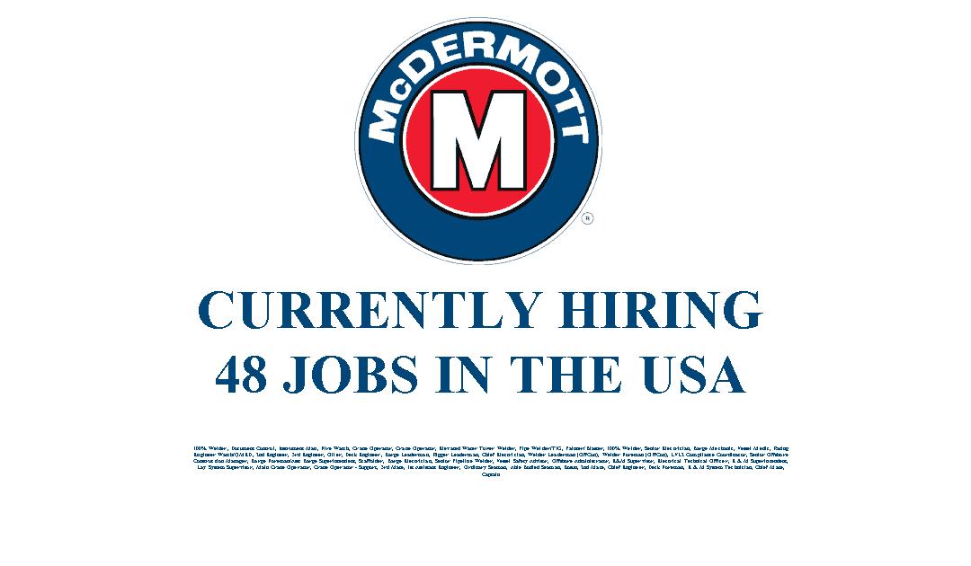 McDermott Hiring 48 Jobs in the USA