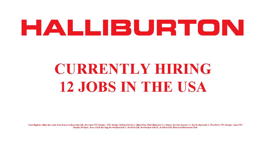 Halliburton is Hiring 12 Jobs in the USA