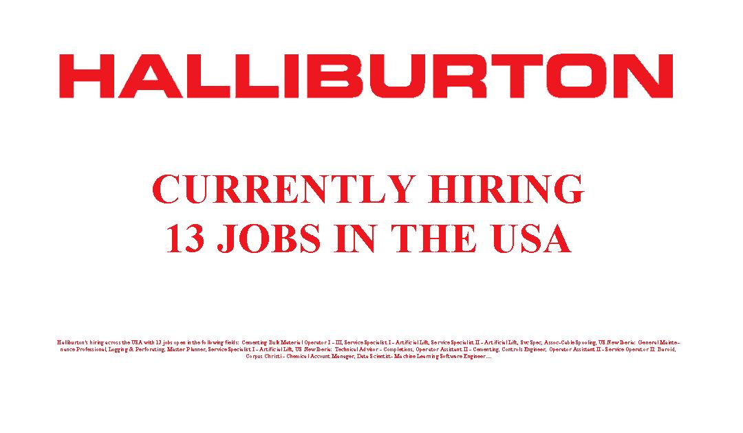 Halliburton is Hiring 13 Jobs in the USA