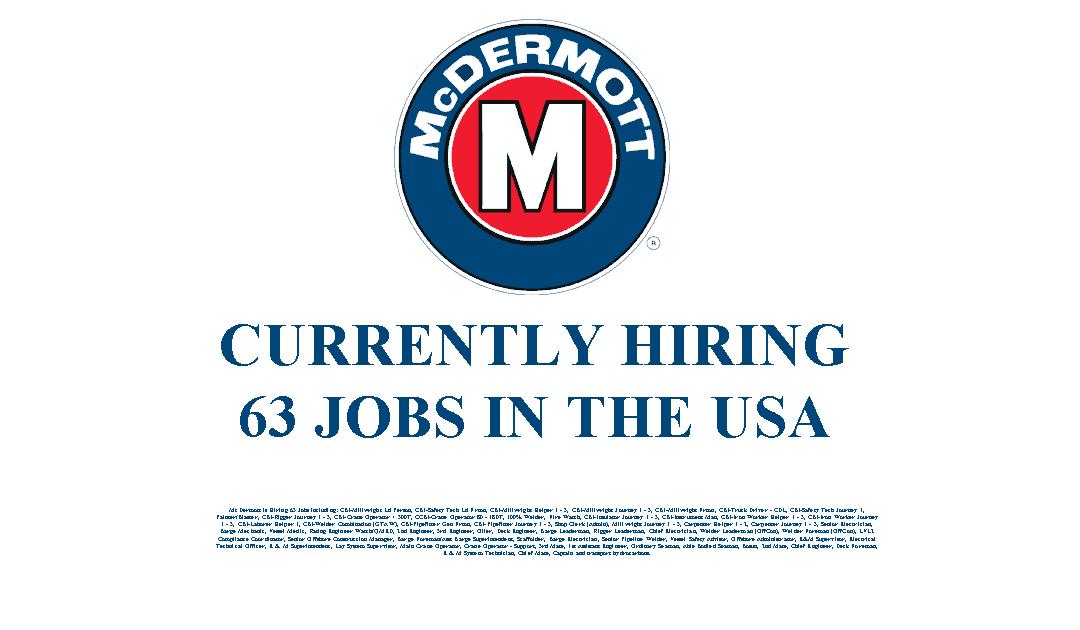 McDermott Hiring 63 Jobs in the USA