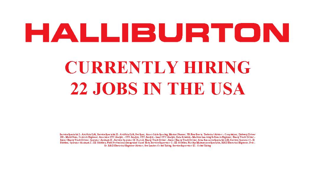 Halliburton is Hiring 22 Jobs in the USA