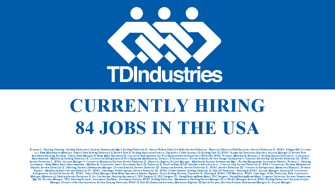 TDIndustries is Hiring 84 Jobs in the USA