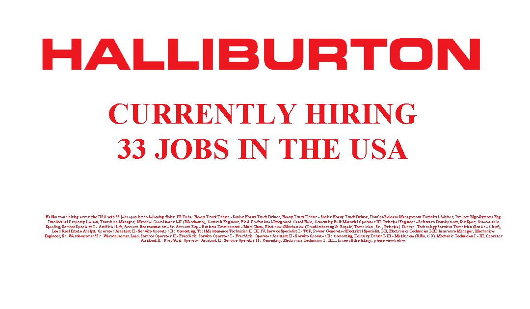 Halliburton is Hiring 33 Jobs in the USA