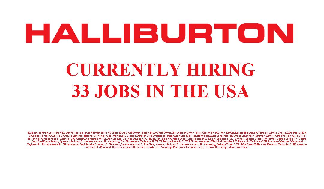 Halliburton is Hiring 33 Jobs in the USA